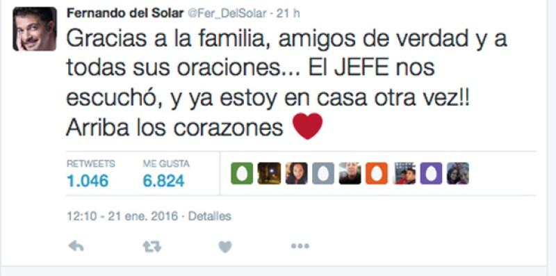 Fernando reveló a sus seguidores que ya salió del hospital.