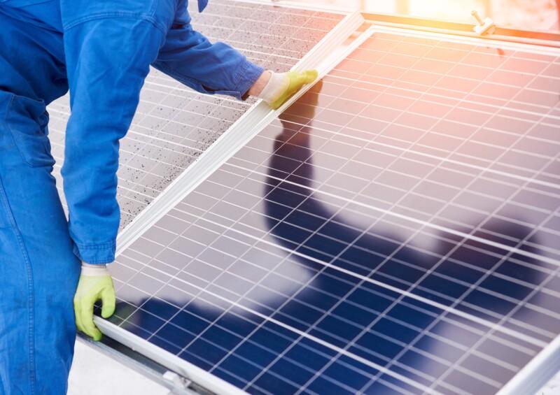 Process of installation solar batteries in winter