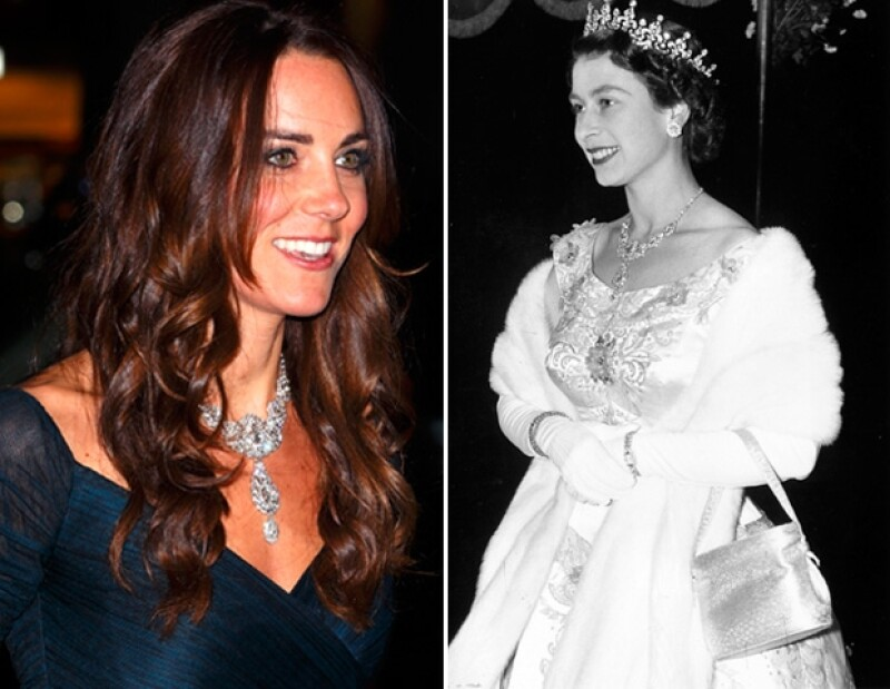 Kate Middleton y la reina Isabel luciendo el mismo collar con varias décadas de separación.