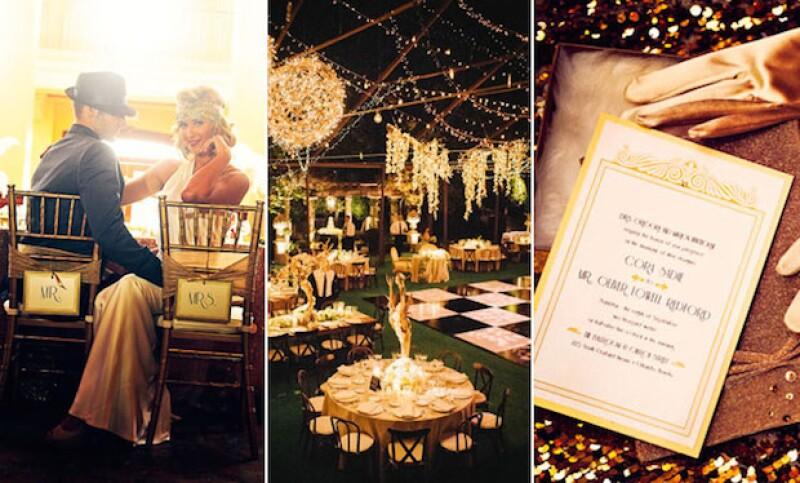 El Gran Gatsby es una buena opción para crear una boda muy sofiticada.