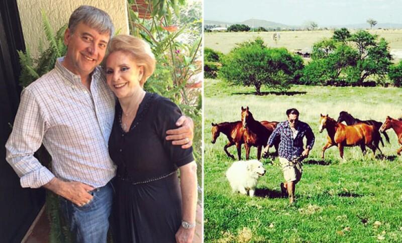 Uno de los mayores tesoros de Don Vicente es su familia. A la izquierda Doña Cuquita y su hijo Gerardo Fernández y a la izquierda el Potrillo disfrutando de sus caballos en el rancho hace soo unos días.