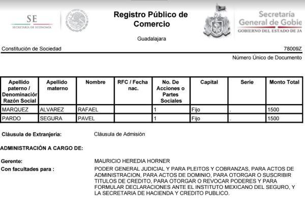 registro público de comercio