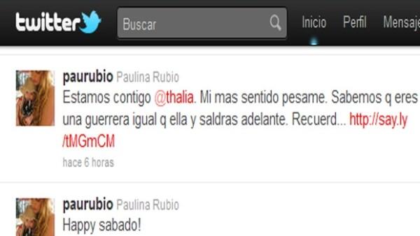 Por medio de su cuenta personal de Twitter, envió mensajes de apoyo a Thalía ante el fallecimiento de su madre Yolanda Miranda Mange.