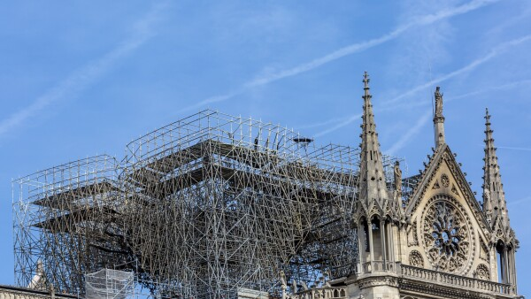 Detail of Notre Dame Cathedral in Paris After the Fire