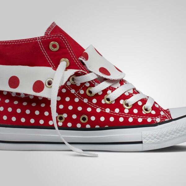 Si quieres un estilo más atrevido, estas zapatillas de corte alto en color rojo pueden ser la opción.