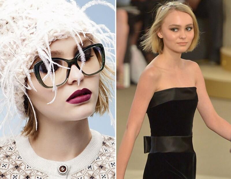 Lily-Rose en la campaña de lentes Pearl de Chanel y en la pasarela de Alta Costura Fall 2015.