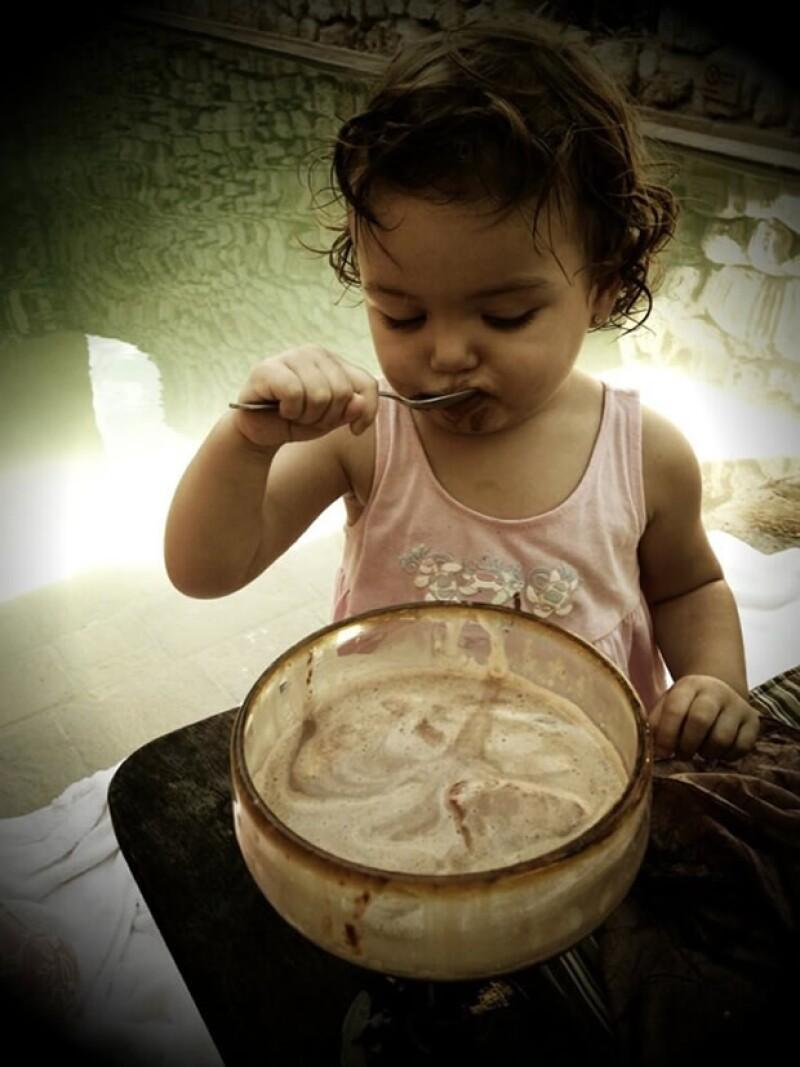Aquí disfrutando del chocolate de Campeche.