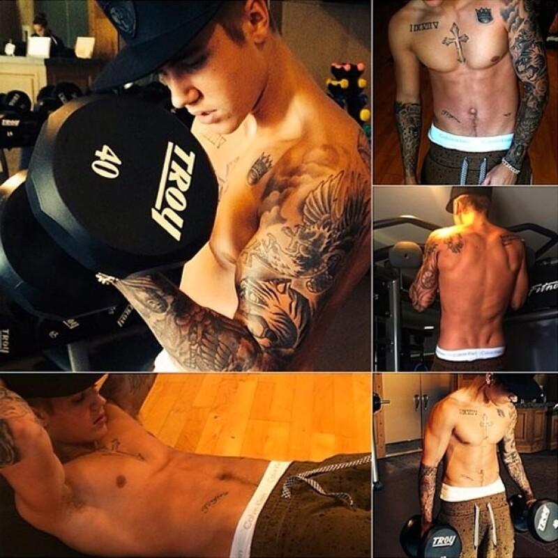Justin comparte con frecuencia fotgrafías de su cuerpo con poca ropa.