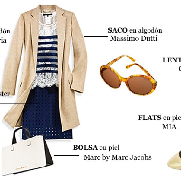 Un saco largo en color beige es un indispensable que combina con cualquier atuendo. El look marinero, por ejemplo, es una carta segura. Si usas este conjunto, juega con diferentes texturas para dar un acento atrevido. Sustituye los tacones con unos flats