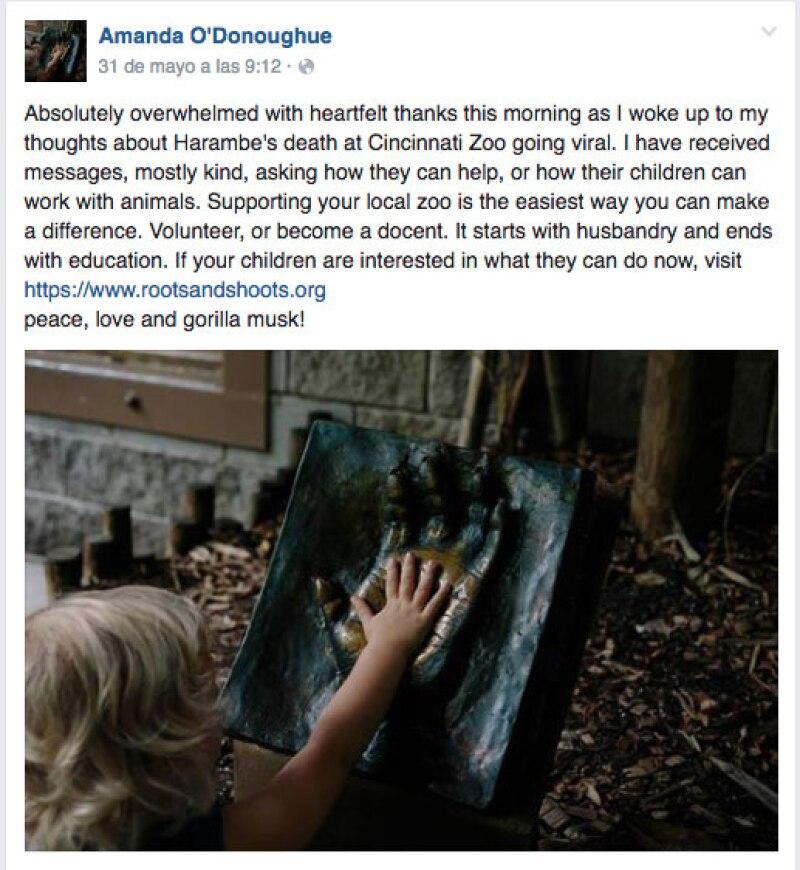 Después de que su explicación se hiciera viral, Amanda invitó a concientizar y a colaborar en los zoológicos.