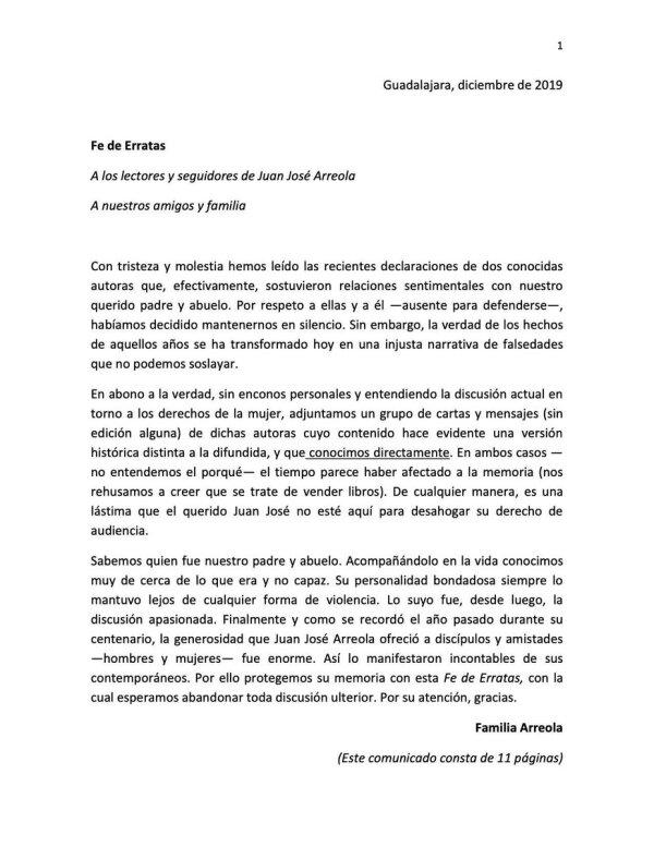 Carta familia Arreola