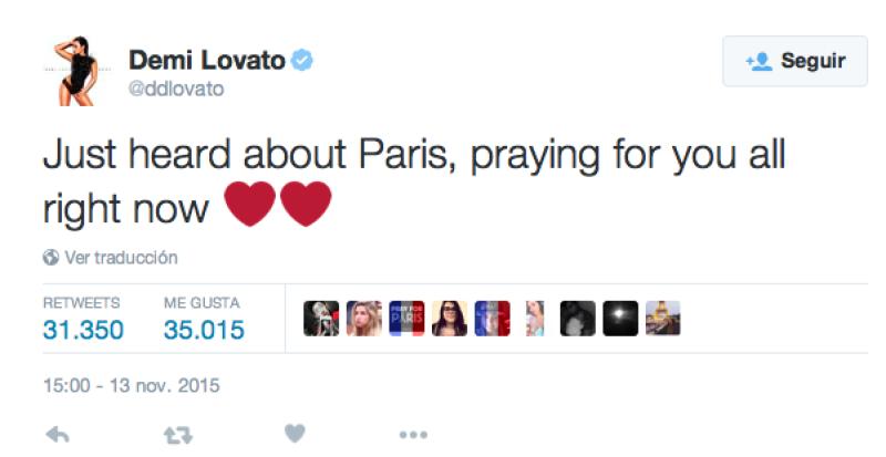 La cantante se ha unido a la comunidad francesa por atentado.
