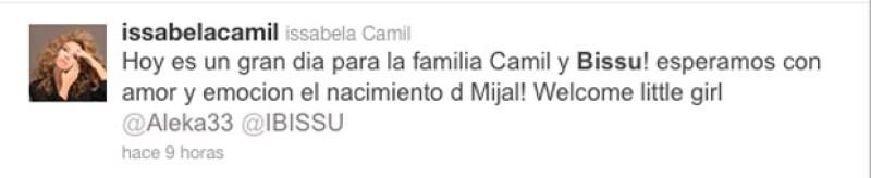 La hermana del actor Jaime Camil dio a luz esta la tarde a una niña.