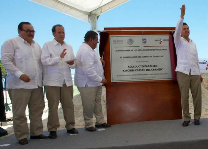 e�a Nieto inaugura el Acueducto Paralelo Chicbul, en Ciudad del Carmen