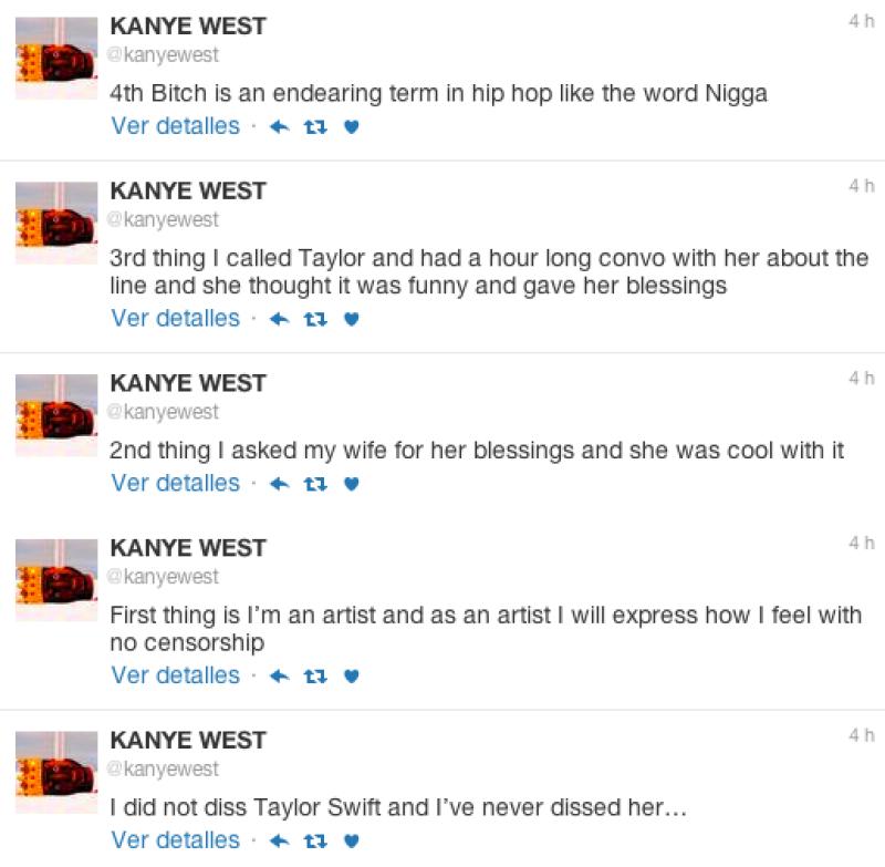 Kanye dio su versión de los hechos en twitter.