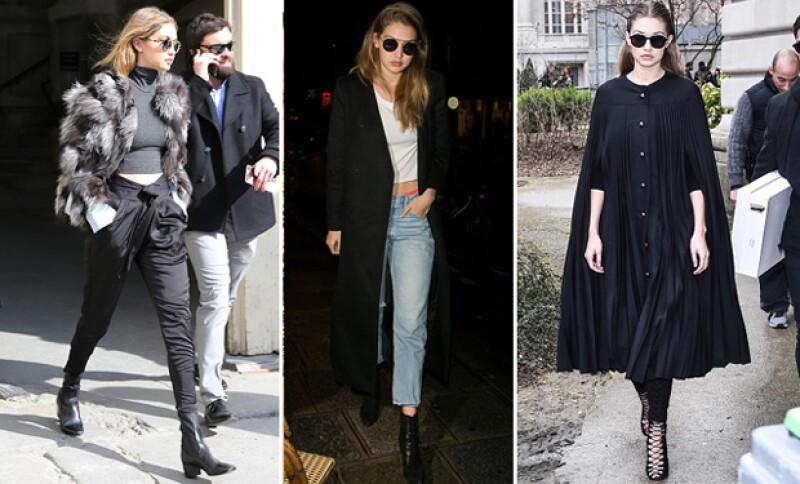 Gigi ha optado por el color negro en sus outfits.