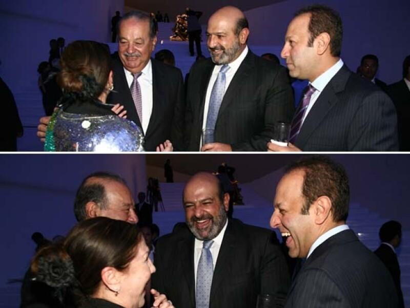 Olga de Pérez Galicia, Carlos Slim, Michel Kuri y Marco Antonio Slim durante la inauguración del museo Soumaya.