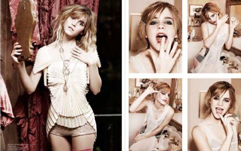 La actriz de 18 años reaparece en el mundo de la moda con una producción de fotos sensuales para una revista, en las que aparece vestida tipo cabaret.