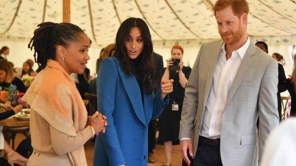 Meghan, Harry y Doria en Kensington 2018