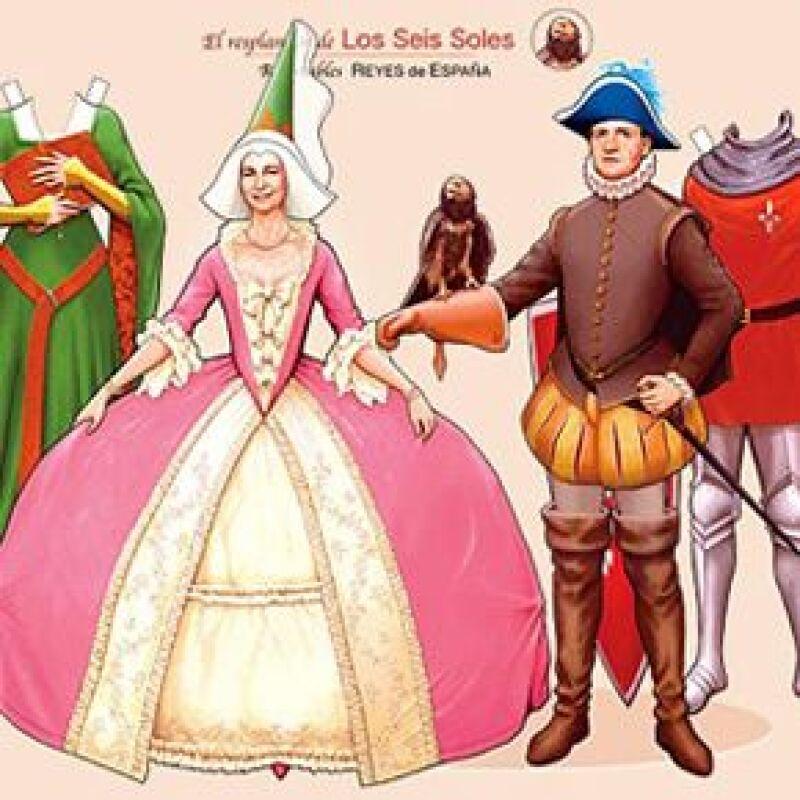 Juan Carlos y doña Sofía protagonizan el tradicional juego infantil en donde se incluyen seis figuras de los Reyes vistiendo atuendos de época de los siglos XIV, XVI y XVIII.