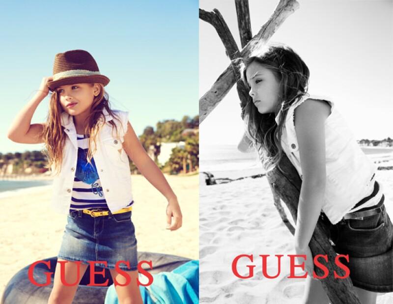 A sus escasos seis años de edad Dannielynn ya es la imagen de la marca Guess.