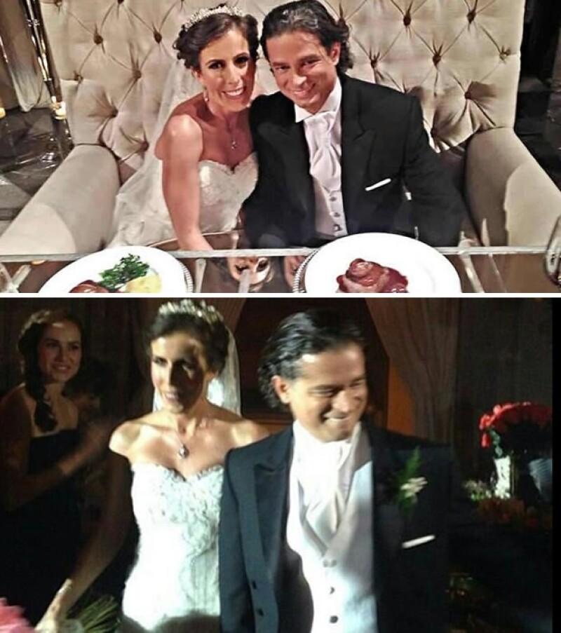 Chacho Gaytán y Mariana García en su mesa de novios y a la llegada al Centro de Banqueros.
