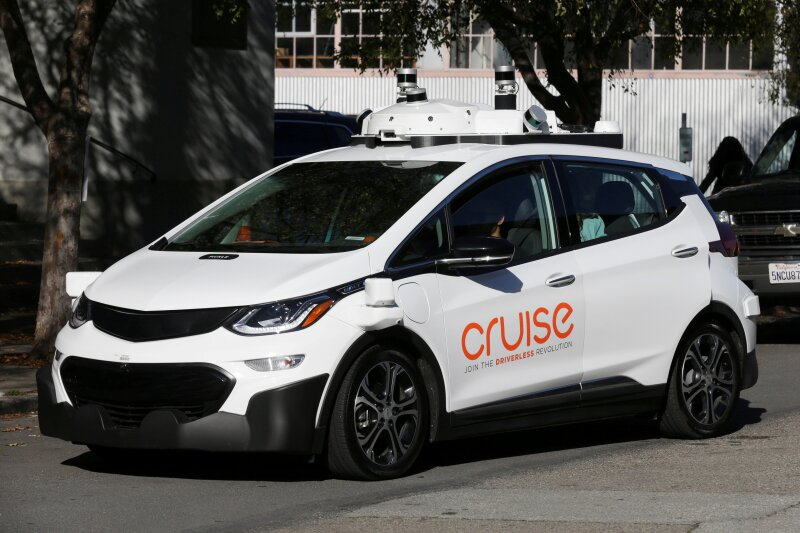 FILE PHOTO: A self-driving GM Bolt EV is seen during a media event where Cruise, GM's autonomous car unit, showed off its self-driving cars in San Francisco