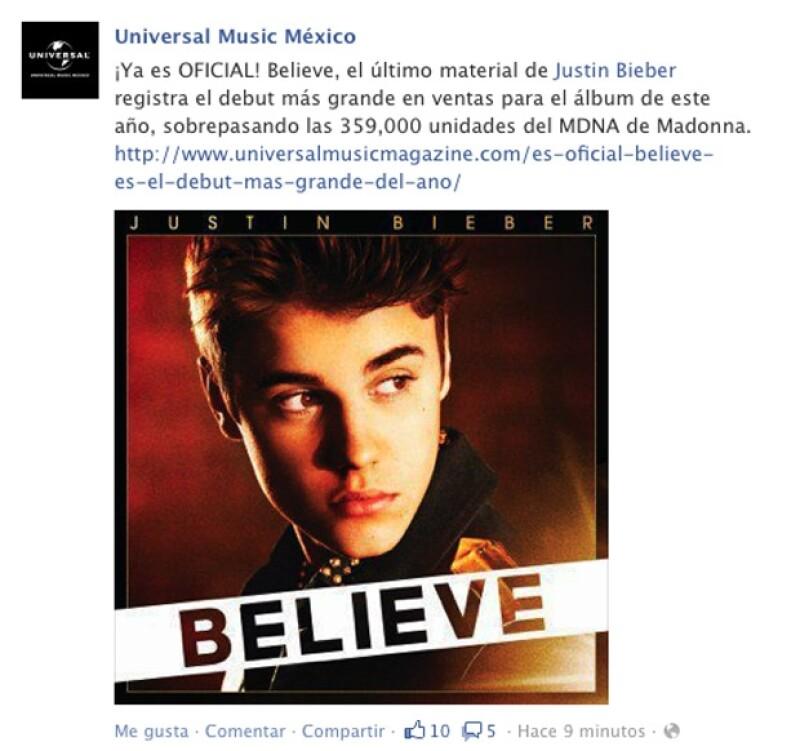 Con su álbum 'Believe&#39 el cantante canadiense alcanzó la cima de las listas de ventas superando a artistas de la talla de Madonna.