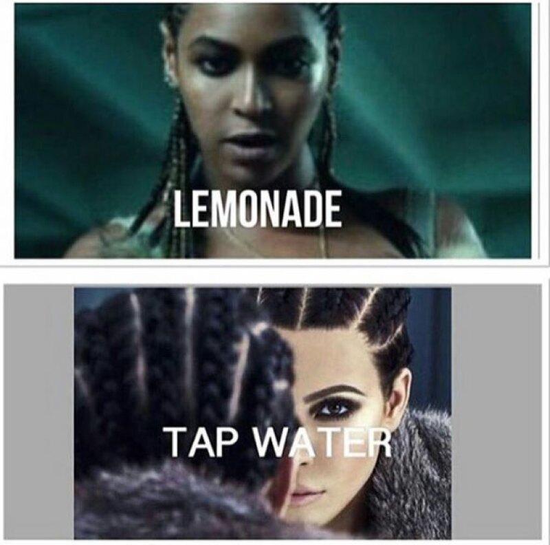En el meme de Kim, a la esposa de Kanye la señalan por tener un look muy parecido al de Beyoncé.