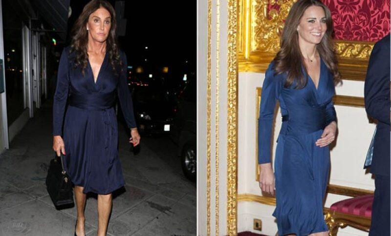 La estrella de reality sorprendió al usar el mismo vestido azul que vistió la duquesa de Cambridge en su fiesta de compromiso.