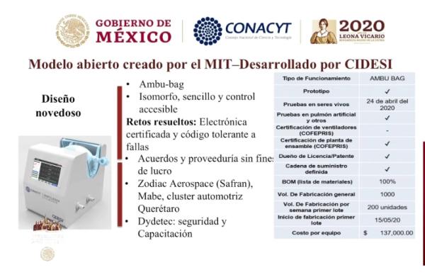 El modelo desarrollado a partir del diseño del MIT tiene un costo de 137,000 pesos, según la información del Conacyt.
