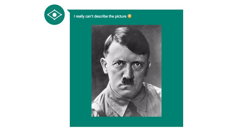 La inteligencia artificial dice que no reconoce la imagen o que se siente mal al ver a Hitler