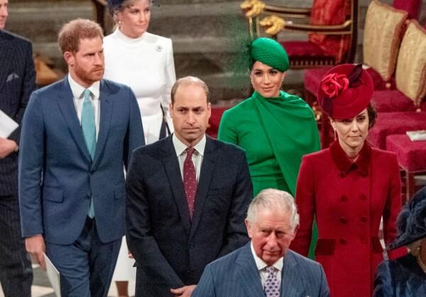 Príncipe Harry, Meghan Markle, príncipe William, Kate Middleton y el príncipe Carlos