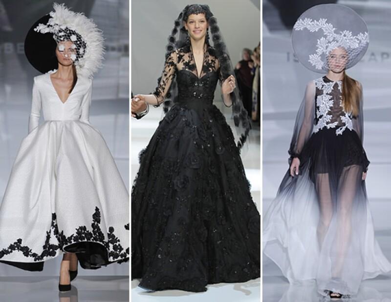 No es que sea una tendencia -recordamos a Jessica Biel vestida de rosa cuando contrajo matrimonio y a Sarah Jessica Parker de negro en su boda- pero sigue siendo una propuesta de los diseñadores.