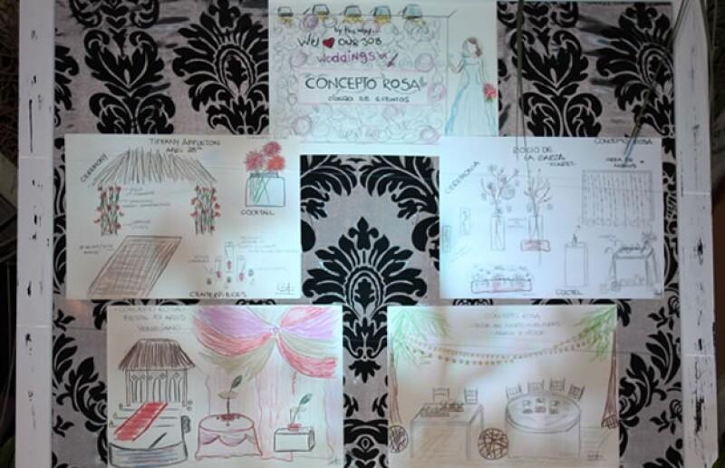 Ejemplos de algunos bocetos realizados previos al evento.