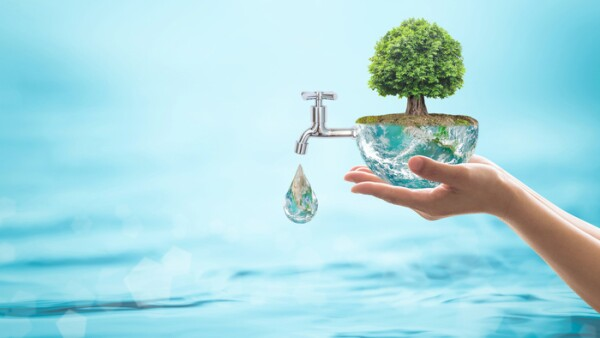 World environmental ecology concept with rain forest tree planting on green globe with water faucet. Element of the image furnished by NASA