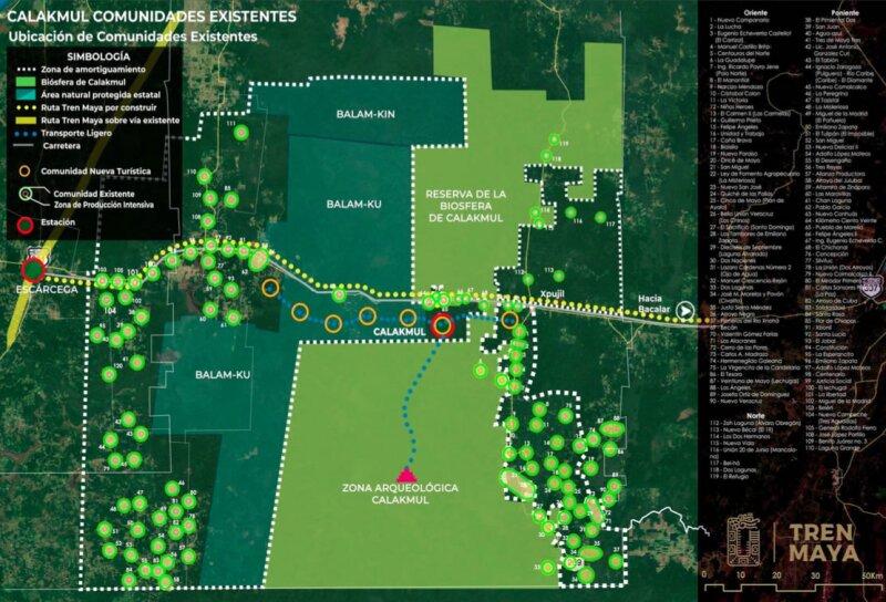 Mapa Reserva de la Biósfera de Calakmul