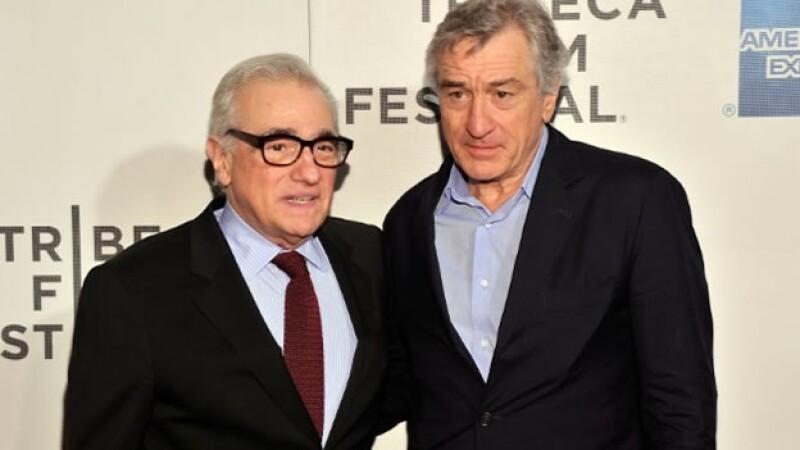 El director de cine Martin Scorsese (izquierda) y el actor Robert de Niro se juntaron para un comercial de un casino en Macao