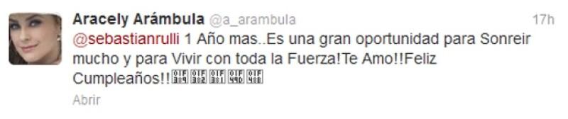 Este fue el mensaje que envió Arámbula a su amado Rulli por ser su cumpleaños.