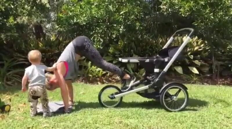 No excuses! La esposa de Chris Hemsworth impresiona con su habilidad para ejercitarse en cualquier ocasión, utilizando una carreola.
