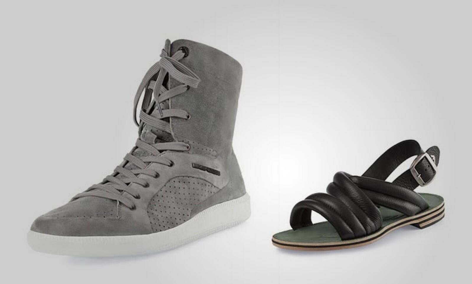La segunda apuesta es un estilo más casual como estos botines deportivos fabricados en pana y unas sandalias en piel de color negro.