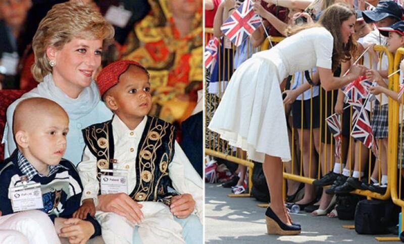 Diana era muy apegada a los niños y en cada visita que realizaba no dudaba en saludar a los pequeños, tal como ahora lo hace Kate.