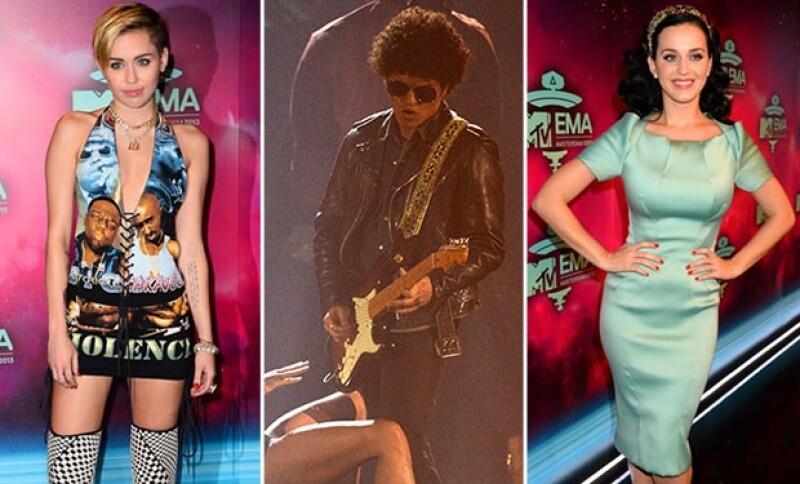 Katy Perry, Bruno Mars y Miley Cyrus fueron algunos de los ganadores durante la ceremonia de entrega de los MTV EMA 2013, que se realizó en la Arena Ziggo Dome, de Ámsterdam.