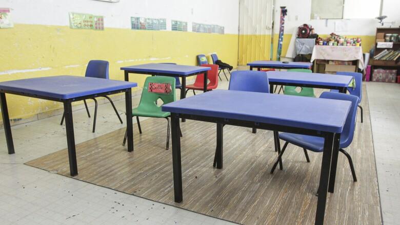 Un aula sin sus protagonistas