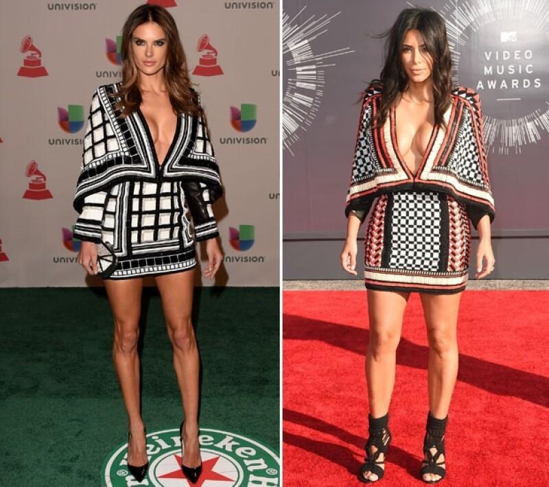 ¿A quién se la ve mejor? Alessandra vistió así para los Latin Grammy y Kim para los MTV Video Music Awards.