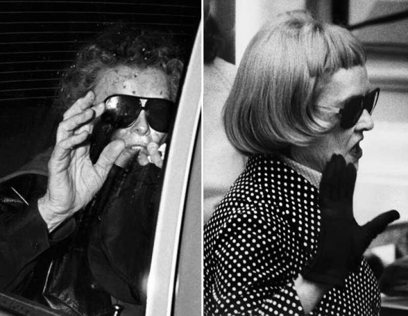 1) La célebre persecución de Ron a Hepburn –que abarca una parte del documental Smash His Camera– culminó con esta foto en un estacionamiento del Teatro Ahmanson, tras su presentación en The West Side Waltz, en el Music Center de Los Ángeles, California, el 5 de marzo de 1981. 2) Bette Davis. El 21 de abril de 1974, la actriz llega a los ensayos para la entrega 28 de los premios Tony, en el Teatro Shubert de Nueva York.