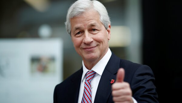 Jamie Dimon, CEO of JPMorgan Chase, leaves after the launching of the Advancing Cities Challenge, in Pantin