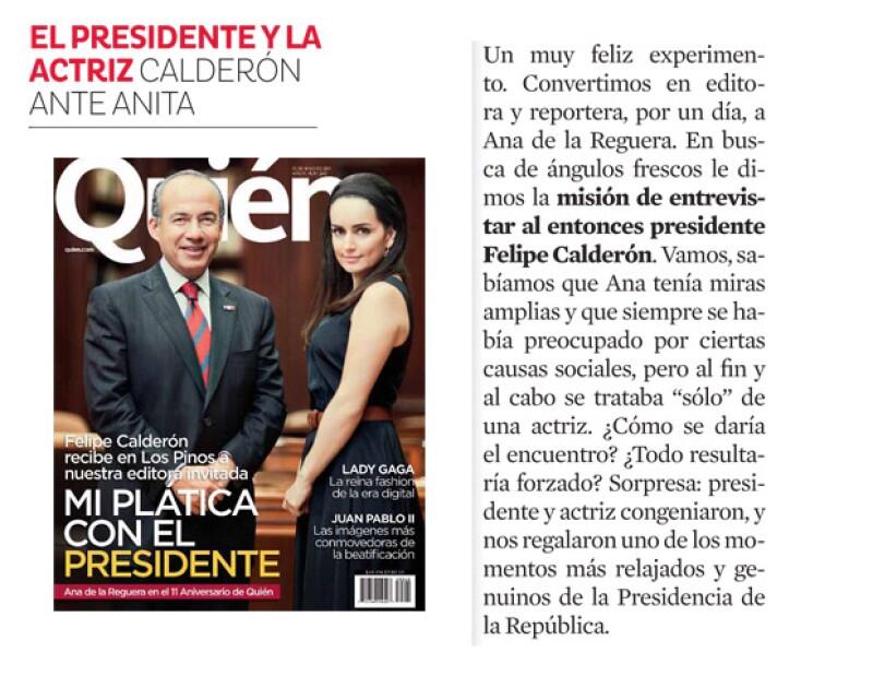 Felipe Calderón y Ana de la Reguera en una charla.