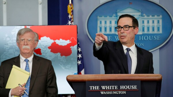 FILE PHOTO: Treasury Secretary Mnuchin and Security Advisor Bolton announce economic sanctions against Venezuela at the White House in Washington