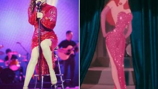 Para su presentación en los premios Cadena Dial en Tenerife, la cantante utilizó un vestido Alexander McQueen, que le recordó al personaje de la sexy chica de la película animada `Roger Rabbit´.